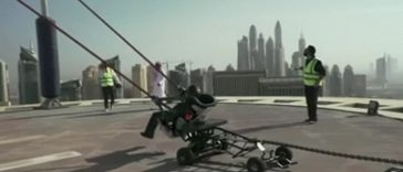 Man catapulted