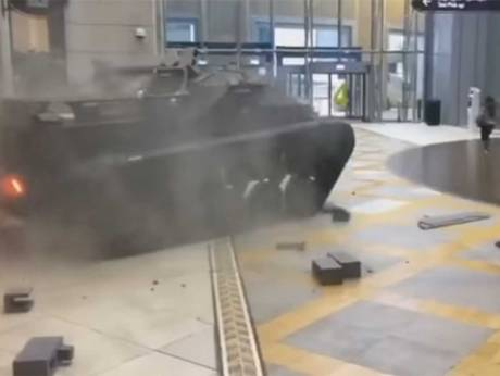 Huge Army Tank Break Wall in Dubai Mall