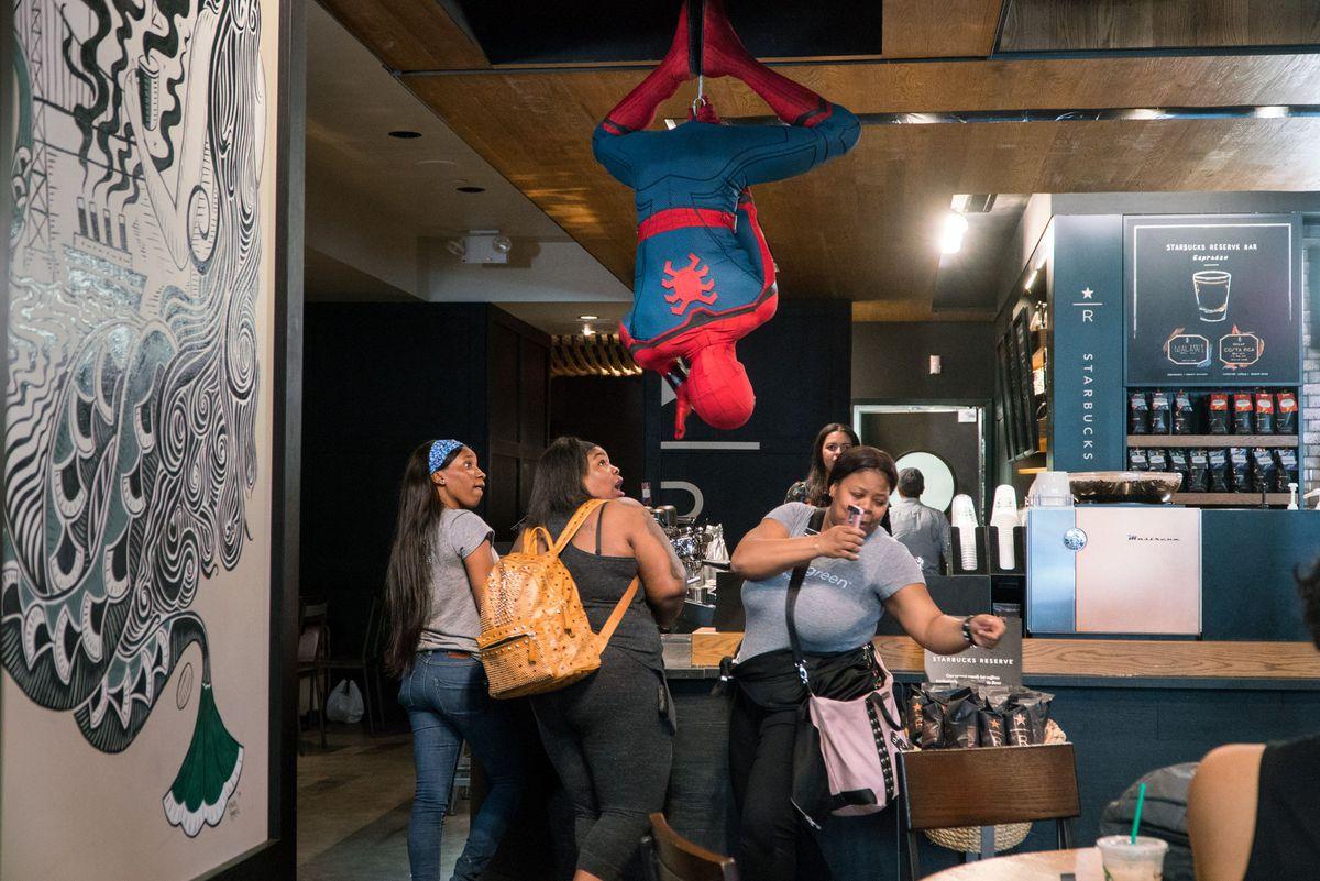 Spider-Man Surprises Unsuspecting Starbucks Customers