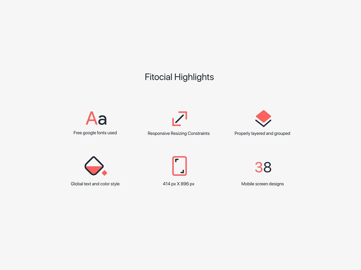 fitocial ui kit highlights
