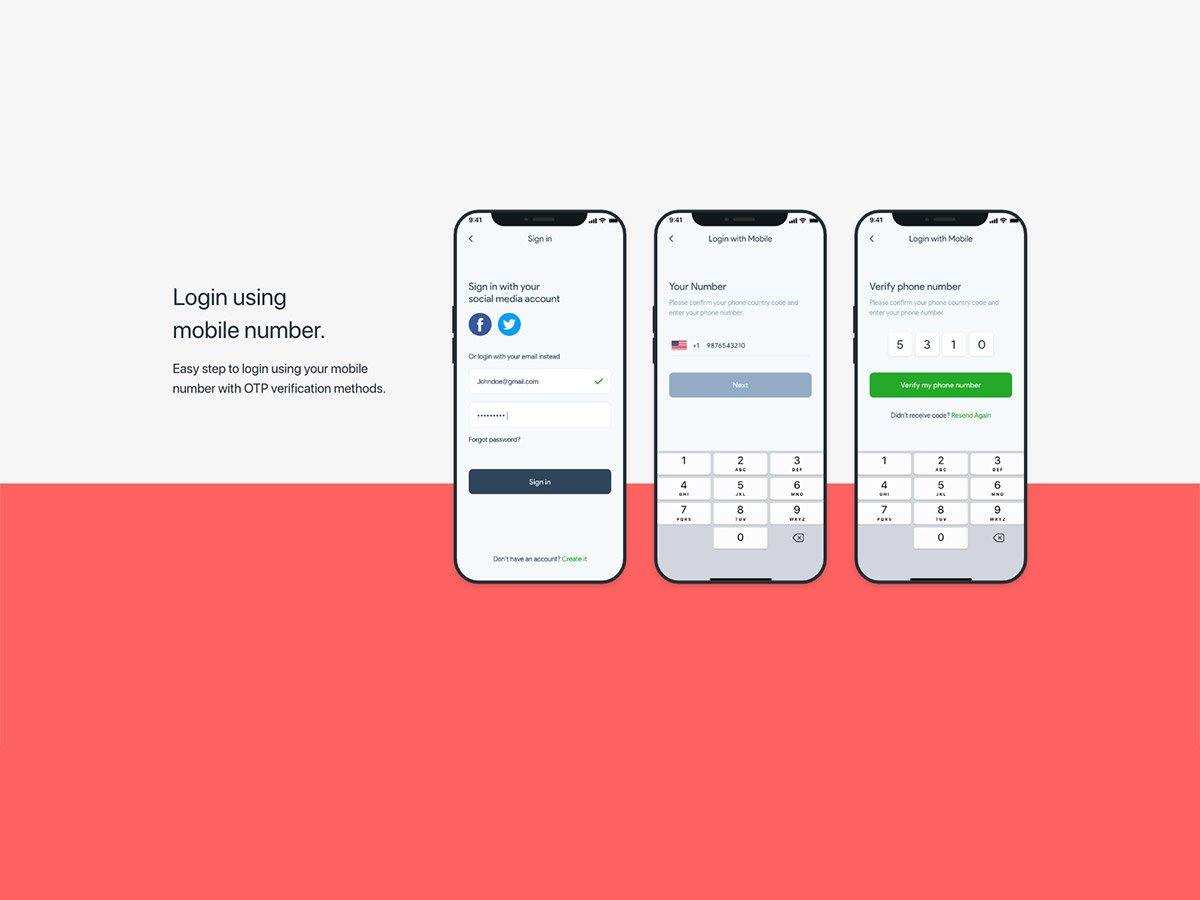 fitocial mobile login screens
