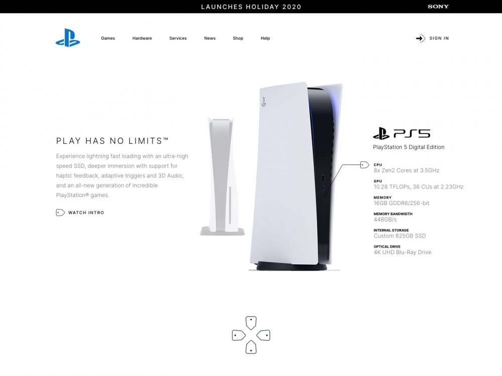 Landing page design ps5
